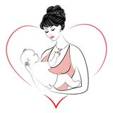 Perfil de uma senhora doce Silhueta da menina, guarda o beb? em seus bra?os Uma mulher nova e bonita Maternidade feliz ilustração stock