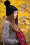 Perfil de un adolescente bonito con colores otoñales en los vagos Foto de archivo libre de regalías