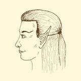 Perfil de un duende joven La cara del duende dibujado mano del vector Foto de archivo libre de regalías