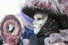 Perfil de una máscara veneciana Imágenes de archivo libres de regalías