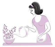 Perfil de una muchacha hermosa La señora cuida sobre los colores del cuarto Una mujer los vertió agua Ilustraci?n del vector stock de ilustración