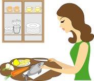 Perfil de una mujer hermosa La muchacha prepara la comida, limpia pescados Una mujer es una buena esposa y ama de casa aseada, cr ilustración del vector