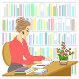 Perfil de una se?ora joven hermosa La muchacha se está sentando en la tabla en la biblioteca Una mujer trabaja como bibliotecario libre illustration