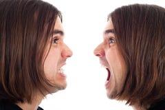 Perfil del grito enojado de la cara del hombre Fotos de archivo libres de regalías