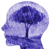 Perfil del hombre con el cerebro visible Paisaje lluvioso Foto de archivo