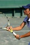 Perfil del jugador de tenis Fotografía de archivo libre de regalías