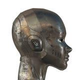 Perfil del metal de la mujer del cyber Imagen de archivo libre de regalías