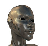Perfil del metal de la mujer del cyber Fotografía de archivo libre de regalías