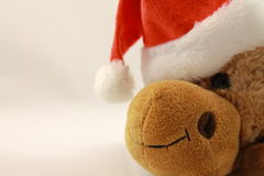 Perfil del retrato de la felpa linda del reno de la Navidad en estudio Imagenes de archivo