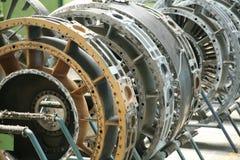Perfil do motor de turbina Tecnologias de aviação Detalhe do motor de jato dos aviões na exposição Fotografia de Stock