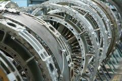 Perfil do motor de turbina Tecnologias de aviação Detalhe do motor de jato dos aviões na exposição Imagens de Stock