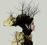 Perfil do retrato de Extravange de uma menina bonita fotografia de stock royalty free