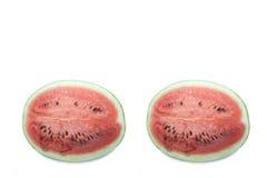 Perfil em um fundo branco, close up da melancia da foto Fotos de Stock
