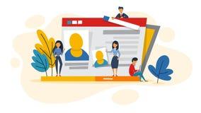 Perfil en red social en la pantalla del ordenador portátil stock de ilustración