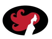 Perfil femenino con el pelo largo ilustración del vector