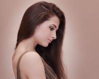 Perfil femenino hermoso de la cara Foto de archivo