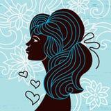Perfil hermoso de la silueta de la mujer Ilustración del Vector