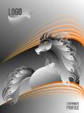 Perfil incorporado da prata e do cavalo bonito alaranjado do garanhão ilustração do vetor