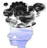 Perfil principal con los globos de malos pensamientos Imagen de archivo libre de regalías