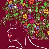 Perfil principal de las mujeres con el pelo floral Fotos de archivo