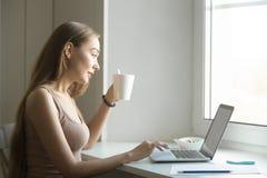 Perfile el retrato de una mujer con el ordenador portátil en travesaño de la ventana Imagen de archivo libre de regalías