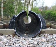 Perfile a vista do uma trilha railway do protótipo histórico Foto de Stock