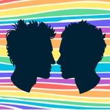Perfiles de dos pares del homosexual de los hombres. Fondo del arco iris stock de ilustración