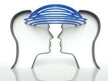 Perfis conectados das cabeças, conceito de uma comunicação ilustração stock