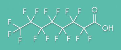 Free Perfluorooctanoic Acid PFOA, Perfluorooctanoate Carcinogenic Pollutant Molecule. Skeletal Formula. Stock Images - 186813404