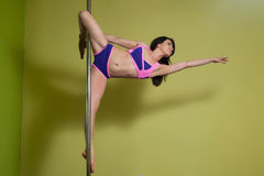 Perfomance of professional pole dancer Stock Images