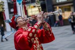 Perfomer cinese equilibrato della via, Vienna Fotografia Stock