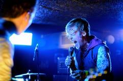 Perfoms de l'ensemble de disco (bande de Finlande) à l'étape de BeCool Photo libre de droits