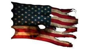 Perforado, quemado, bandera americana del grunge