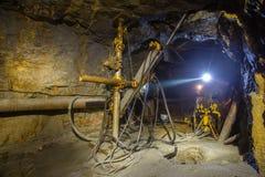 Perforadora subterráneo del mineral de la mina de oro Fotos de archivo