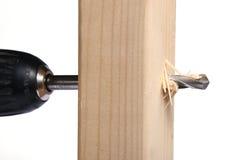 Perforando in legno Fotografia Stock