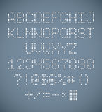 Perforated alphabet. Full set of perforated letters, numbers and symbols. EPS10 Stock Photo
