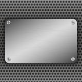 Perforated Metal Background with plate and rivets. Metallic grunge texture. Brushed Steel, aluminum surface template. Perforated Metal Background with plate and Stock Photos