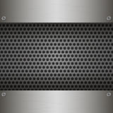 Perforated Metal Background with plates and rivets. Stock Photography