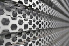 Perforated metal panel. Metal background Stock Images