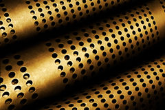 Perforated Metal Pipes. Abstract background of perforated metal pipes Royalty Free Stock Images