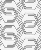 Perforated paper with broken hexagons Stock Photos