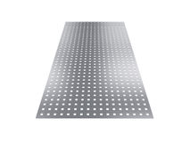 Perforated sheet, 3D rendering, isolated on white background Royalty Free Stock Images