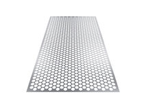 Perforated sheet, 3D rendering, isolated on white background Stock Photo