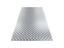 Perforated sheet, 3D rendering, isolated on white background Stock Image