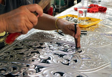 Perforated Silver Plate Handcraft Stock Images
