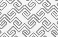 Perforated square spirals fastened. Seamless geometric background. Modern monochrome 3D texture. Pattern with realistic shadow and cut out of paper effect royalty free illustration