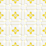 Perforated squares with yellow flowers pattern Stock Photos
