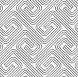 Perforated striped square spirals fastened. Seamless geometric background. Modern monochrome 3D texture. Pattern with realistic shadow and cut out of paper stock illustration