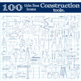Εικονίδια κατασκευής - τρυπάνι, perforator και άλλα εργαλεία Λεπτό σύνολο γραμμών 100 στα μπλε χρώματα στο σημειωματάριο Στοκ εικόνες με δικαίωμα ελεύθερης χρήσης