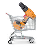 Perforator in shopping cart Royalty Free Stock Image